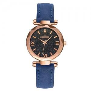 Classic Starry Night Index Slim Style Women Leather Wrist Watch - Blue