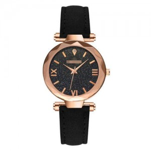 Classic Starry Night Index Slim Style Women Leather Wrist Watch - Black