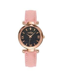 Classic Starry Night Index Slim Style Women Leather Wrist Watch - Pink