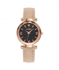 Classic Starry Night Index Slim Style Women Leather Wrist Watch - Beige