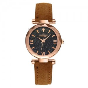 Classic Starry Night Index Slim Style Women Leather Wrist Watch - Brown