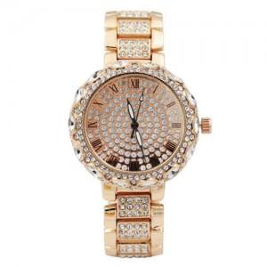 Rhinestone Inlaid Roman Scale Index Elegant Women Stainless Steel Wrist Watch - Rose Gold