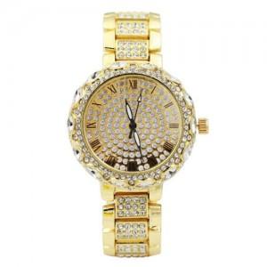 Rhinestone Inlaid Roman Scale Index Elegant Women Stainless Steel Wrist Watch - Golden