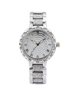 Rhinestone Inlaid Roman Scale Index Elegant Women Stainless Steel Wrist Watch - Silver