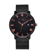 Simple Fashion Roman Scale Index with Calendar Men Wholesale Watch - Black
