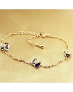Purple Magic Box Austrian Crystal Rose Gold Bracelet