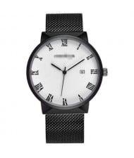 Simple Fashion Roman Scale Index with Calendar Men Wholesale Watch - White