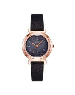 Creative Mini Index Design Women Leather Wrist Wholesale Watch - Black