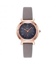 Creative Mini Index Design Women Leather Wrist Wholesale Watch - Gray
