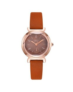 Creative Mini Index Design Women Leather Wrist Wholesale Watch - Brown