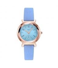 Creative Mini Index Design Women Leather Wrist Wholesale Watch - Blue