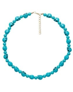 Artificial Turquoise Skull Design Wholesale Fashion Jewelry Costume Necklace