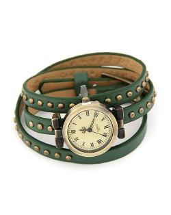 Rivets Fashion Army Green Leather Bracelet Woman Watch