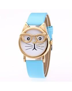 Cute Golden Glasses Cat Fashion Wrist Watch - Light Blue