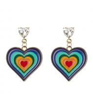 Ethnic Style Multi-layer Peach Heart Unique Design Colorful Oil-spot Glazed Alloy Wholesale Earrings