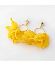 Cloth Tassel Floral Design U.S. High Fashion Women Hoop Wholesale Earrings - Yellow