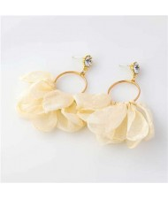 Cloth Tassel Floral Design U.S. High Fashion Women Hoop Wholesale Earrings - Beige