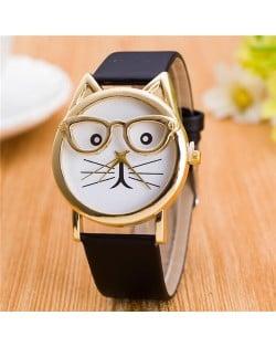 Cute Golden Glasses Cat Fashion Wrist Watch - Black
