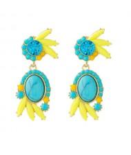 Cute Floral Design Resin Fashion Women Wholesale Earrings - Blue