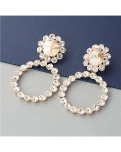 Super Glistening Hoop Design Rhinestone U.S. Bold Fashion Women Wholesale Earrings - Golden