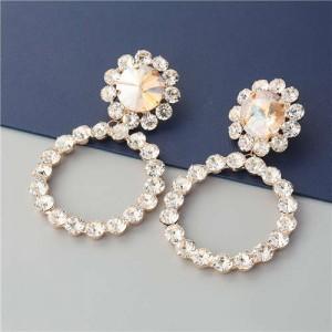 Super Glistening Hoop Design Rhinestone U.S. Bold Fashion Women Wholesale Jewelry Earrings - Golden