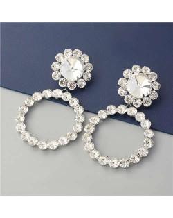 Super Glistening Hoop Design Rhinestone U.S. Bold Fashion Women Wholesale - Silver