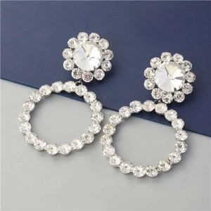 Super Glistening Hoop Design Rhinestone U.S. Bold Fashion Women Wholesale Jewelry Earrings - Silver