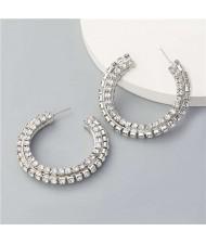 Shiny C-shaped Rhinestone Bold Party Fashion Women Hoop Wholesale Earrings - Silver
