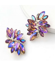 High Fashion Wholesale Jewelry Rhinestone Unique Floral Design Women Party Costume Earrings - Purple
