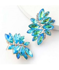 High Fashion Wholesale Jewelry Rhinestone Unique Floral Design Women Party Costume Earrings - Blue