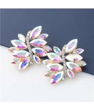 High Fashion Wholesale Jewelry Rhinestone Unique Floral Design Women Party Costume Earrings - Luminous White