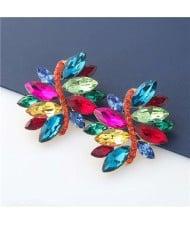 High Fashion Wholesale Jewelry Rhinestone Unique Floral Design Women Party Costume Earrings - Multicolor