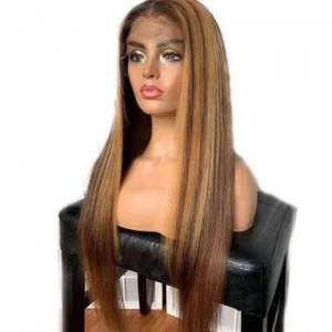 Gradient Color Brown Straight Style Long Hair High Fashion Women Synthetic Wholesale Wig