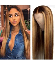 Middle Side Part Gradient Color Brown Straight Long Hair U.S. High Fashion Synthetic Wholesale Wig