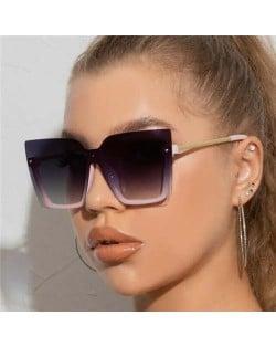 U.S. High Fashion Semi-frame Rivet Decorated Design Women Wholesale Sunglasses - Pink
