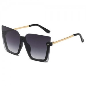 U.S. High Fashion Semi-frame Rivet Decorated Design Women Wholesale Sunglasses - Golden Black