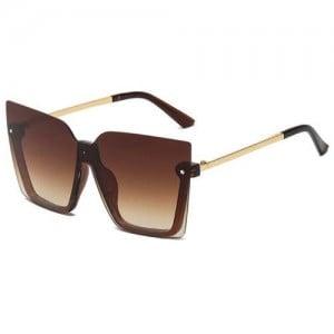 U.S. High Fashion Semi-frame Rivet Decorated Design Women Wholesale Sunglasses - Brown