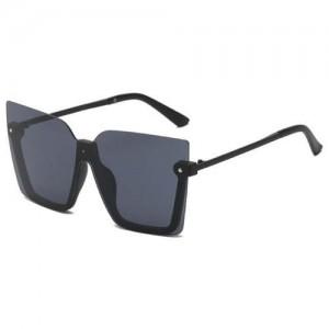 U.S. High Fashion Semi-frame Rivet Decorated Design Women Wholesale Sunglasses - Black