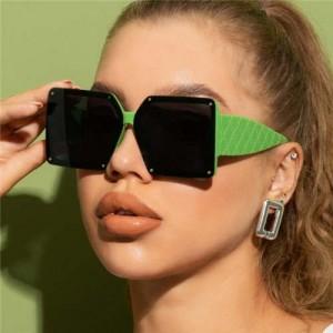 Stylish Bold Square Frame Embossing Design Women Cool Fashion Wholesale Sunglasses - Green