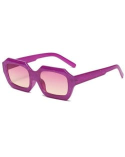 Stylish Bold Square Frame Embossing Design Women Cool Fashion Wholesale Sunglasses - Purple