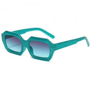 Vintage Design Polygon Glitter Candy Colors Frame Women Wholesale Sunglasses - Green