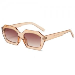 Vintage Design Polygon Glitter Candy Colors Frame Women Wholesale Sunglasses - Champagne