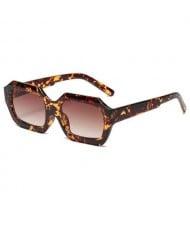 Vintage Design Polygon Glitter Candy Colors Frame Women Wholesale Sunglasses - Leopard