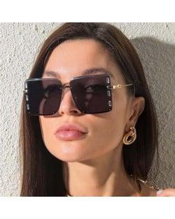 U.S. Bold Fashion Rhinestone Embellished Frameless Women Wholesale Sunglasses - Gray