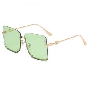 U.S. Bold Fashion Rhinestone Embellished Frameless Women Wholesale Sunglasses - Green