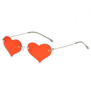 Sweet Heart Style Simple Fashion Frameless Lady Wholesale Sunglasses - Red