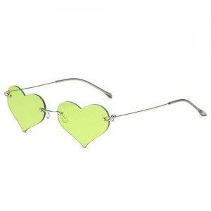 Sweet Heart Style Simple Fashion Frameless Lady Wholesale Sunglasses - Green