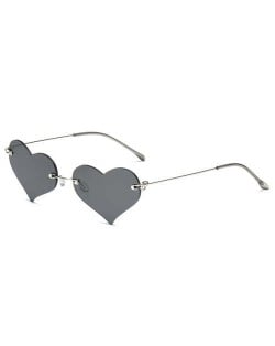 Sweet Heart Style Simple Fashion Frameless Lady Wholesale Sunglasses - Black