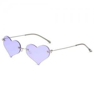 Sweet Heart Style Simple Fashion Frameless Lady Wholesale Sunglasses - Violet