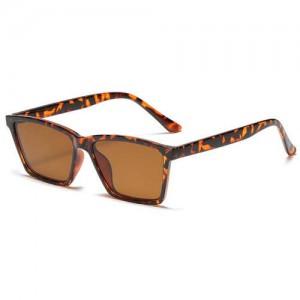 Classic Gentle Simple Design Square Slim Frame Outdoor Fashion Wholesale Sunglasses - Leopard